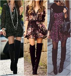 Cute boho dress and over the knee boots