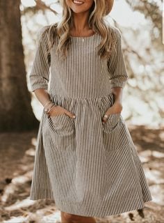 Striped Hollis Pocket Midi Dresss – chiclinen cupshe dresses vacation outfit ideas outfit travel dresses for cruise clothes for vacation beach clothing maxi dresses Simple Short Dresses, Elegant Dresses, Sexy Dresses, Cute Dresses, Casual Dresses, Formal Dresses, Long Dresses, Casual Outfits, Midi Dresses