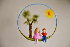 Kinder mobile Waldorf inspiriert Nadel Gefilzte Kinderzimmer