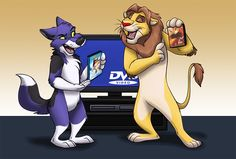 We Should Watch This One - by Greykitty Stream comm for brokkentwolf #lion   #wolf   #balto   #dvd   #tv