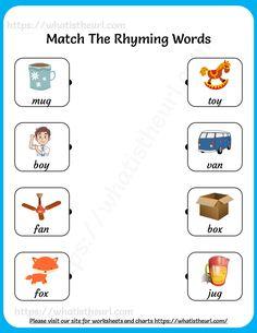 Match the Rhyming Words Worksheet for Grade 1 Rhyming Activities, Kindergarten Activities, Preschool Activities, 1st Grade Worksheets, Preschool Worksheets, Rhyming Words For Kids, English Rhymes, Phonemic Awareness, Learning Letters