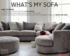 We've got a brand NEW Pinterest comp where you can get your hands on a sofa! All you have to do is create a board based around a Next sofa and email your board to nextofficial@next... with the title 'What's My Sofa'. One lucky winner will be chosen to WIN a sofa! The competition ends on Monday 2nd November at 10am. T's&C's in the link.