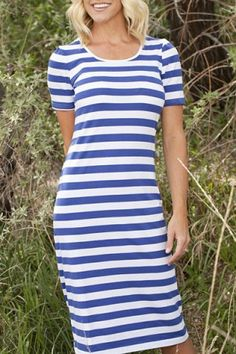 Simple Scoop Neck Striped Short Sleeve Dress For WomenBodycon Dresses | RoseGal.com