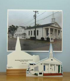 """Front and back of our wooden 3/4"""" thick church shown with the photo we used to create this Cat's Meow replica for fundraising."""