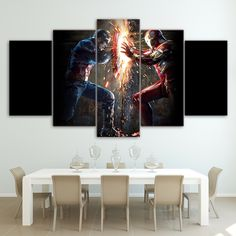 5 Panel Printed Wall Decor Canvas Art Print Poster Picture Super Hero Avengers Captain Hulk Painting On Canvas For Children Room