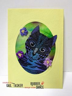 * Rubber Dance Blog *: Blue Curious Cat stamped greeting card with a Brusho background.