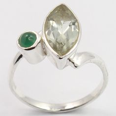 Real GREEN AMETHYST & GREEN ONYX Gemstone 925 Sterling Silver Ring Size US 5.75 #SunriseJewellers #Fashion