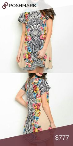 """Fabulous floral print dress Brand new with tags  Boutique item Price is firm   Stunning dress featuring a bold floral print in multiple colors flutter sleeves  Multi colors Material 100%polyester  Fully lined Small Bust 34"""" around/Length 33"""" Medium Bust 36"""" around/Length 34"""" Large Bust 39""""around/Length 35"""" Print varies per dress   Dresses"""