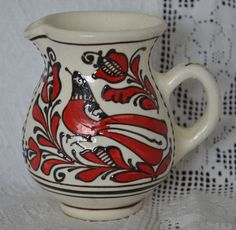 Szekely Transylvanian KOROND Hungarian Folk Art Pottery, Pitcher/Creamer Red Bird Pottery Art, I Tattoo, Folk Art, Ceramics, Bird, Culture, Tea, Chocolate, Coffee