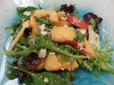 Salad with Fresh Peaches, Mint, Almonds, Feta and a Mint Vinaigrette - delicious summer salad when peaches are at their peak!
