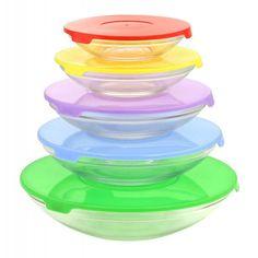 Glass Bowls With Multi-color Lids - Set
