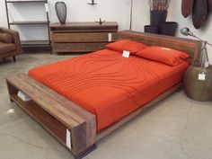 Appealing Rustic Untreated Walnut Full Size Bed Frame With Storage Footboard And Add Cool Cotton Fabric Orange Bedsheet And Two Soft Foam Filled Pillows With Twin Bed Frames And Adjustable Bed Frames of Unbelievable Full Size Bed Frame Designs from Bedroom Ideas