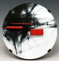 """Notation"" - Julia Turner (brooch in steel, wood, vitreous enamel, and paint)"