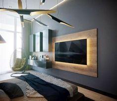 Tv Wand In Gelungener Kombination Angesagte Betonoptik Und Vanille