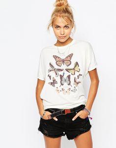 Immagine 1 di Element - T-shirt con stampa di farfalle stile concerto