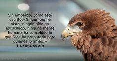 Sin embargo, como está escrito:«Ningún ojo ha visto, ningún oído ha escuchado, ninguna mente humana ha concebido lo que Dios ha preparado para quienes lo aman.»