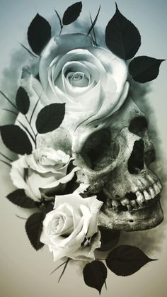 Skull Tattoo Flowers, Skull Rose Tattoos, Skull Hand Tattoo, Buddha Tattoo Design, Skull Tattoo Design, Skull Artwork, Skull Painting, Mago Tattoo, Skull Reference
