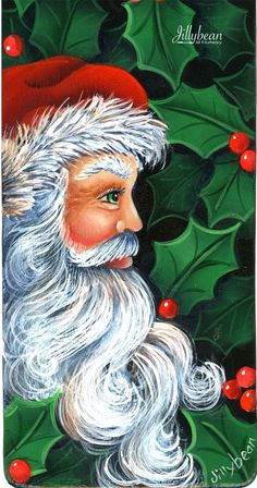 135 Santa Door Hanger Jillybean designs, art brushes, dynasty brushes, black gold brushes, on line Santa Paintings, Christmas Paintings On Canvas, Christmas Canvas, Easy Canvas Painting, Painting On Wood, Christmas Rock, Christmas Crafts, Xmas, Father Christmas