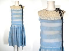 Vintage Antique 1920's FLAPPER DRESS Tiered Blue LACE YOKE Velvet Ribbon Gown - Ebay