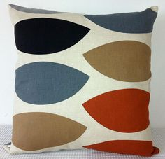 Cushion cover - geometric retro burnt orange, brown, black and grey cushion cover, contemporary designer fabric slip cover, throw pillow on Etsy, $25.00