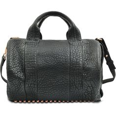 Alexander Wang Rocco leather bag ($1,135) ❤ liked on Polyvore featuring bags, handbags, shoulder bags, black, leather duffle bag, black leather handbags, leather handbags, black studded handbag and black purse