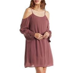 Charlotte Russe Rose Taupe Gauzy Cold Shoulder Shift Dress with... ($27) ❤ liked on Polyvore featuring dresses, rose taupe, short red dress, sundress dresses, cold shoulder dress, peasant dress and boho dress