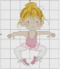 Bailarina Cross Stitch For Kids, Cross Stitch Baby, Cross Stitch Kits, Cross Stitch Designs, Cross Stitch Patterns, Cross Stitching, Cross Stitch Embroidery, Cross Stitch Numbers, Cross Stitch Pictures