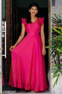 Long Gown Dress, Frock Dress, Saree Dress, Long Frock, Silk Dress, Dress Skirt, Long Dress Design, Dress Neck Designs, Indian Gowns Dresses