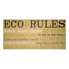 """""""Eco Rules"""" Wall Plaque for home"""