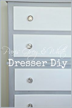 TWO TONED DRESSER DIY- crisp and clean paris grey and white dresser diy-stonegableblog.com
