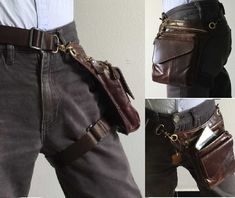 Waist/hip bag, dark tanned leather messenger bag with leg strap.