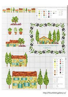 Gallery.ru / Фото #44 - 91 - Fleur55555 cypress trees houses cross stitch point de croix