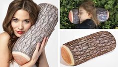 Fake log pillow.  I would love to put this in our camper.