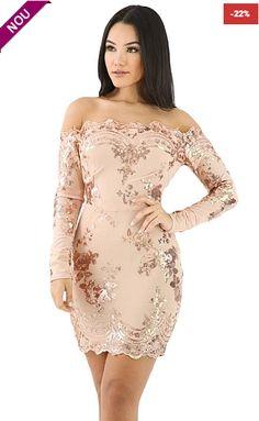 Her Apricot Scalloped Trim Off Shoulder Sequin Floral Women Mini Dress Trendy Dresses, Club Dresses, Cheap Dresses, Sexy Dresses, Mini Dresses, Midi Dresses Online, Dress Online, Robes Midi, Bodycon Dress