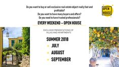 WELCOME! ESTATE 2018 - OPEN HOUSE!  During the three days of a weekend in July, August and September, the Open House will present some villas and apartments in the Lerici - Tellaro area to several potential buyers of our vast network of Russian, Swiss and British clients.   #ENG  #openhouseswissitaly #openhouse #open #house Three Days, Villas, Open House, Apartments, September, Presentation, British, Real Estate, Mansions