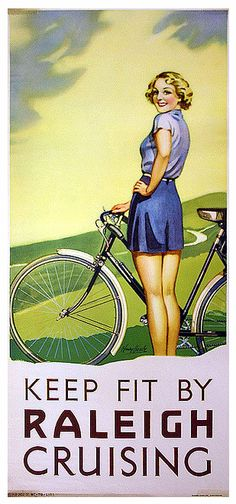 Keep Fit By Raleigh Cruising Bicycle Girl vintage art poster / ad