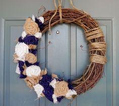 burlap & blue wreath.