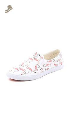 BucketFeet Women's Flamingos Slip On Sneakers, White/Pink, 5 B(M) US - Bucketfeet sneakers for women (*Amazon Partner-Link)