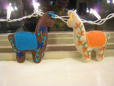 LOVE THE EMBROIDERY + EAR TASSELS - llama ornaments @Katie Shrum