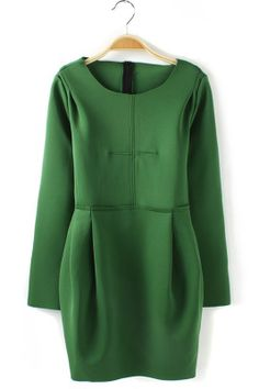 Green Back Zipper Lantern Dress