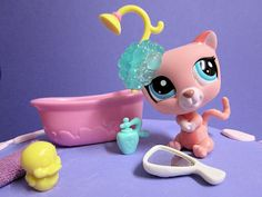 littlest pet shop bath set - includes soap, duck, and shower cap! Even small mirror for the pet.