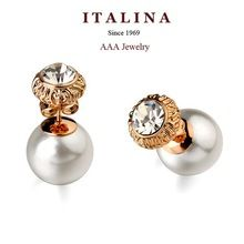 AAA Fashion Rhinestone Double Sides Pearl Stud Earrings for Women Gold Plated ITALINA Bead Jewelry(China (Mainland))