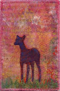 2 quick FABRIC postcards from gelli-prints