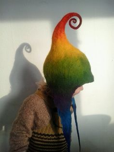 Handmade pixie hat, Etsy listing at https://www.etsy.com/listing/177387534/handmade-felt-rainbow-hat-pixie-elf