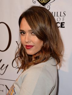 8 Celebrity Hair Transformations You Have To See -  AFTER: Jessica Alba's brunette long bob with subtle highlights