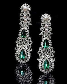 Emerald, Diamond, & Pearl Earrings