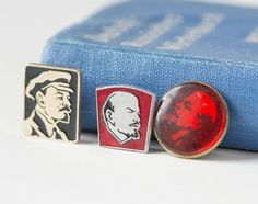 Lenin pins badges Soviet red silver shades Lenin by SovietEra