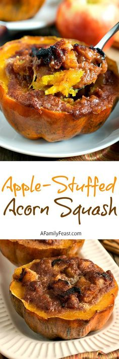 Apple-Stuffed Acorn Squash - Enjoy the delicious flavors of Fall with this easy recipe!