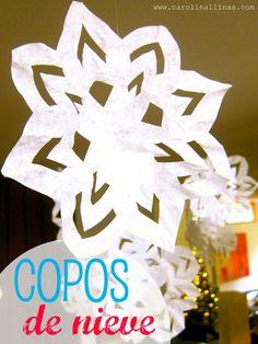 Nuestro Mundo Creativo: Copos de Nieve {con filtros de café}