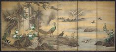 Japan, Birds and Flowers in a Landscape by Kano Utanosuke, Momoyama Period (late 16th century) Museum of Fine Arts Boston. Set of two folding screens.